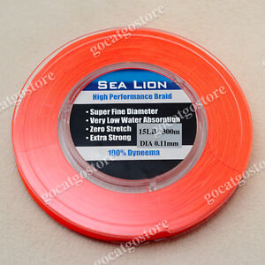 NEW-Sea-Lion-100-Dyneema-Spectra-Braid-Fishing-Line-300M-15lb-Orange