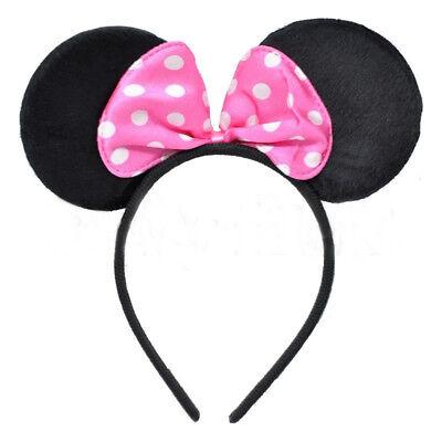 Maus Ohren & Rosa Schleife Stirnband - Kostüm Kostüm Mickey Minnie Outfit - Rosa Schleife Kostüm