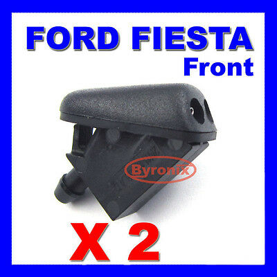 FORD FIESTA FRONT WINDSCREEN WATER WASHER JETS NOZZLE X 2 - WITH RUBBER SEAL