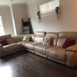 Natuzzi Genuine Leather Sectional Couch