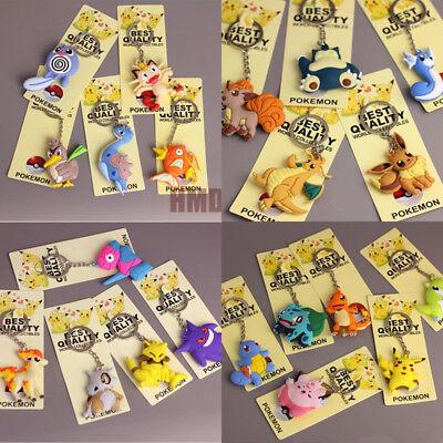 Pokemon PVC Keychain 3D Keyring Ornament Pendant Pikachu Toy Accessories