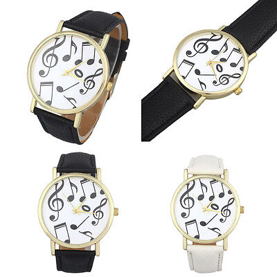 Women Mens Casual Musical Notes Leather Band Analog Quartz Dial Wrist Watches