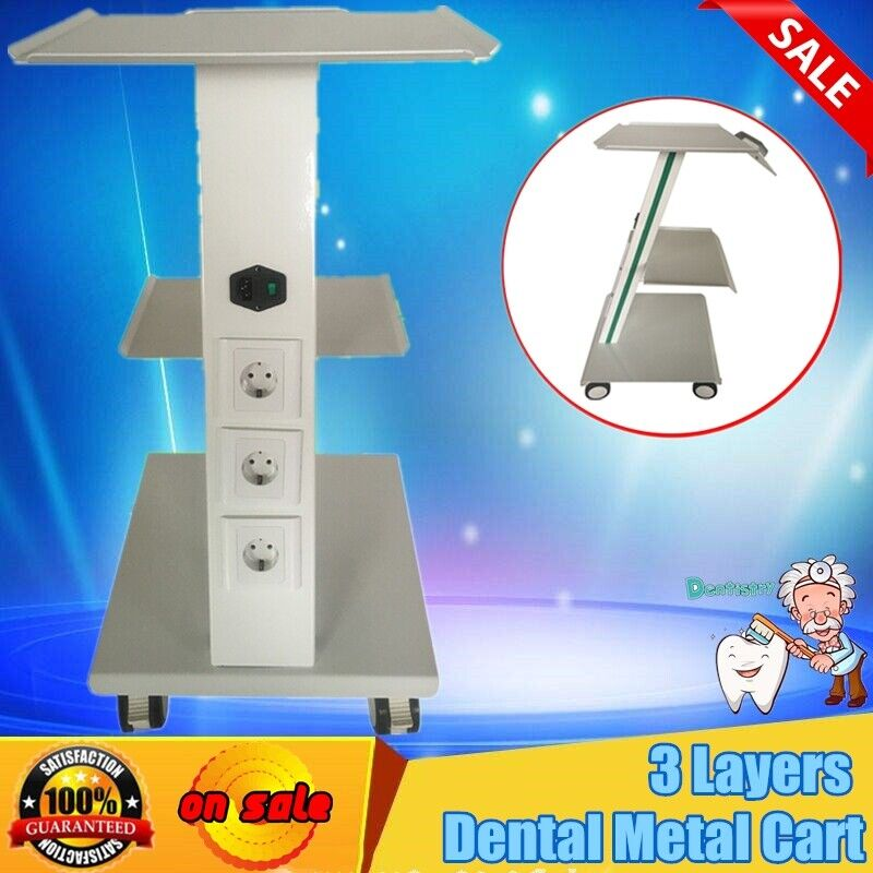 3 Layers Metal Mobile Instrument Medical Cart Dental Trolley 4 Universal Casters