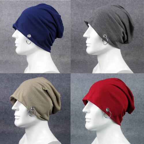 d8fb65d1776 Details about Men s Plain Metal Ring Cotton Slouchy Beanie Hat Casual Ski  Oversized Cap Hats
