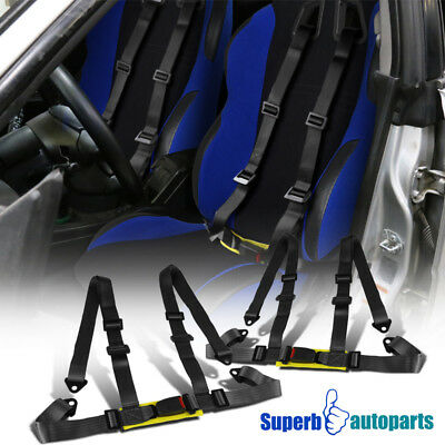 Pair Black Racing Seat Belts 4 Point 4PT Safety Harness