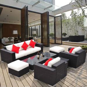 7pc Outdoor Rattan Wicker Sofa Patio Furniture w/ Table Ottoman