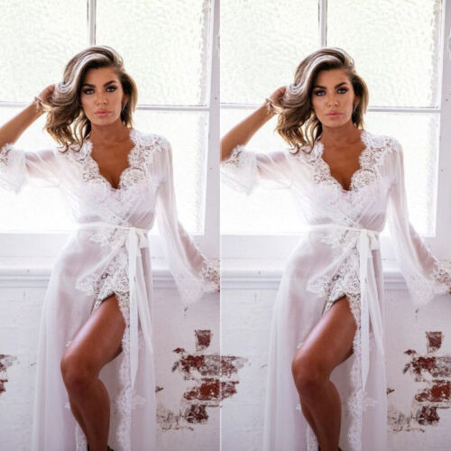 Ladies Women Bride Kimono Robe Negligee Gown Lace Sheer Maxi Nightdress Lingerie Clothing, Shoes & Accessories