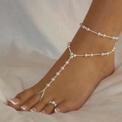 Bridal Beach Pearl Barefoot Sandal Foot Jewelry Anklet Bracelet Ankle Chain DH