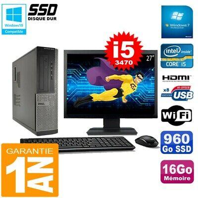 PC DELL 3010 DT Core I5-3470 Ram 16Go Disque 960Go SSD Graveur Wifi W7 Ecran 27