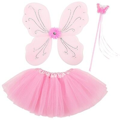 Rosa Flügel Kostüm (3tlg. Feen Kostüm Set - Rosa - Tüllrock Flügel Zauberstab - Schmetterling Set)