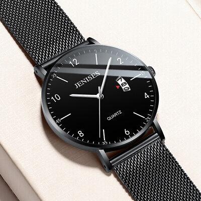 Men's Quartz Stainless Steel Mesh Band Ultra-thin Dial Waterproof Wrist Watch US