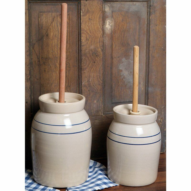 Hand-Turned Pottery Stoneware Butter Churn 2 Gallon Natural Stone Color