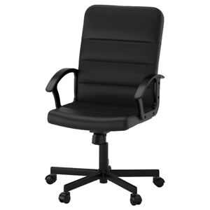 Chaise office chair black leather slick modern A1 condition