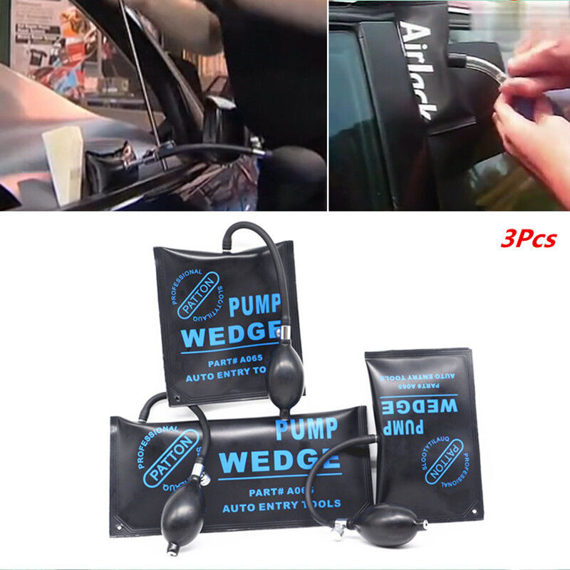 3x Car Open Door Tool Black Air Bag Hand Pump Wedge Inflatable Shim Pad Universa