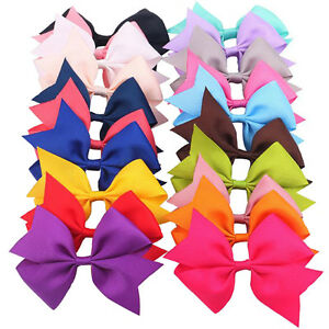 20Pcs Baby Girls Boutique Big Bow Hair Clips Grosgrain Ribbon Alligator Hairpins