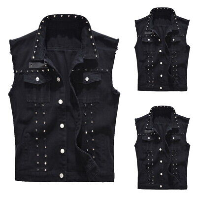 Hot US Fashion Men Punk Denim Vest Sleeveless Jean Jackets with Rivets Slim Tops