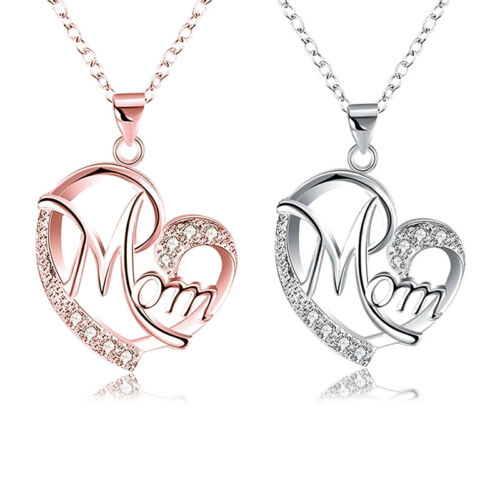 US Crystal Heart Mom Pendant Necklace Mothers Day Birthday G