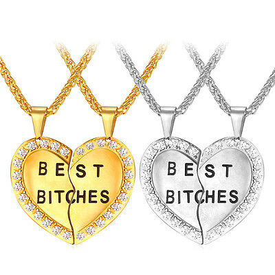 Best Bitches Pendant 18K Gold Plated Heart Necklace 2pcs Stainless Steel