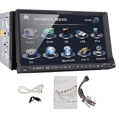 "Double 2 Din 7"" In Dash Stereo Car DVD CD Player Bluetooth Radio iPod SD/USB on Rummage"