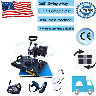 15x12 5 In 1 T-shirt Heat Press Printing Machine Swing Away Sublimation Mug
