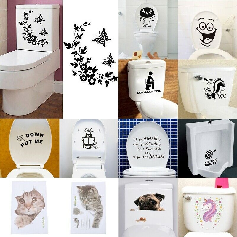 Home Decoration - Durable Bathroom Toilet Decoration Seat Art Wall Stickers Decal Home Decor TYUK