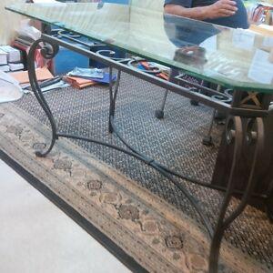 bombay company glass table with iron legs