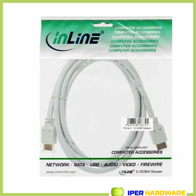 INLINE HIGH SPEED HDMI CABLE PREMIUM mâle / mâle 1 m GOLD PLATED blanc