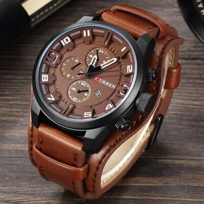 Fashion Curren Mens Date Stainless Steel Leather Analog Quartz Sport Wrist (Analog Leather Wrist Watch)