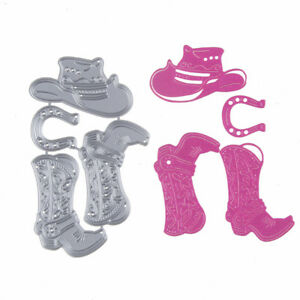 4pc Set of Cowboy Hat Boots Metal Cutting Die for scrapbook- $12