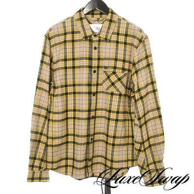#1 MENSWEAR Aztech Mountain Ecru Hi-Viz Yellow Multi Plaid Flannel Shirt Italy M