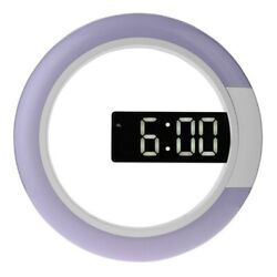 Led Mirror Hollow Wall Clocks Home Decor Multi-Function Alarm Temperature C8Y0
