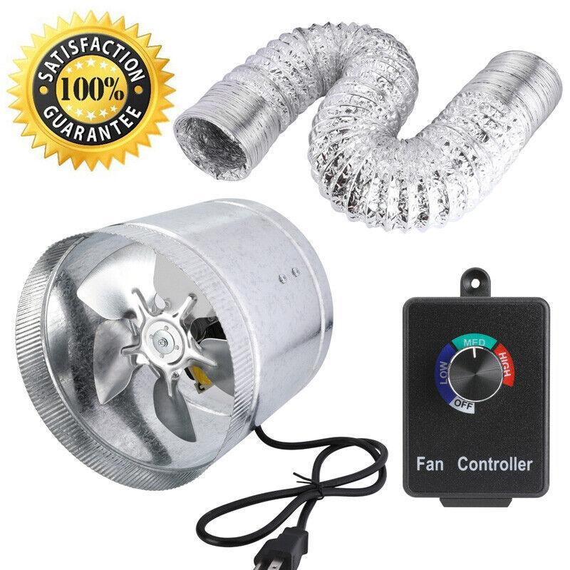 """4"""" 6"""" 8""""Duct Booster Inline Blower Fan & Dusting Hose & Fan Speed Controller NEW"""