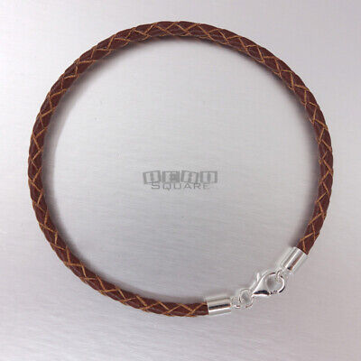SALE Sterling Silver 3mm Brown Round Braided Genuine Leather Cord Bracelet -
