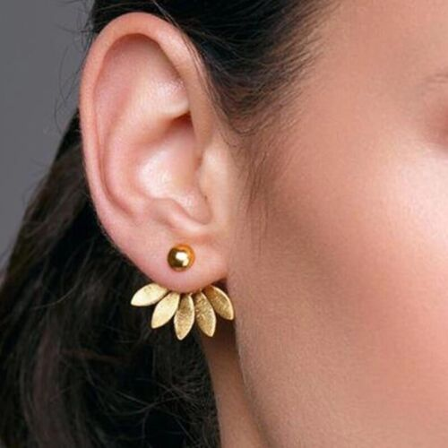 Ear Jacket Front Back Flower Double Sided Stud Earrings Silver Gold Tone E52 Earrings