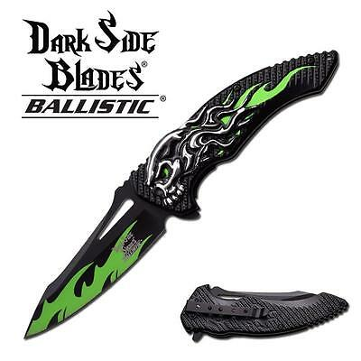 Dark Side Blade Spring Assisted Knife 5 inches With Green Sk