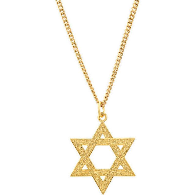 "18/"" Star Of David W//Cross Necklace In 18K Gold  Plated LIFETIME WARRANTY"