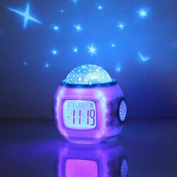 Baby Children Alarm Clock Bed-Room Sky Star Night Light Music Projector Lamp New