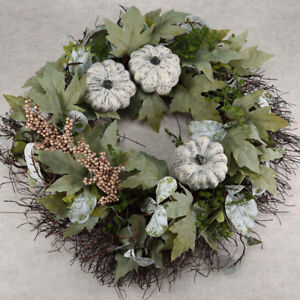 Wreath with Lights 19 inch Pumpkin Leaves Handcrafted for Decor