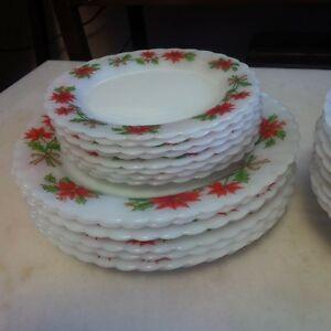 Vintage Poinsetta Milk Glass Christmas Dinnerware Set of 8