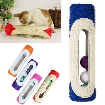 Pet Cat Kitten Kitty Rolling Sisal Scratching Post 3 Trapped Ball Train Toys USA