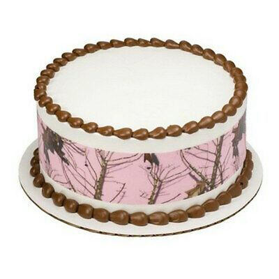 Camo Birthday Cakes (Pink Camo Birthday ~ Edible 2D Fondant Cake 3 Strip Side Topper ~ D8447)