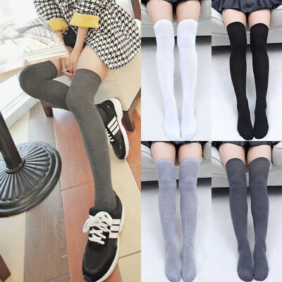 Women Knit Cotton Over The Knee Long Socks Striped Thigh High Stocking Socks New - Striped Thigh High Socks