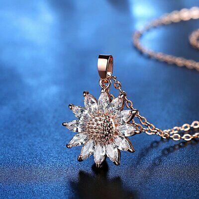 Charm Rose Gold Sunflowers Crystal Zircon Necklace Pendant Women Wedding Gift (Sunflower Charm)