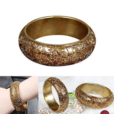 Women's Fashion Bracelet Lady Jewelry Gold Retro Court Style Cuff Bangle Gift
