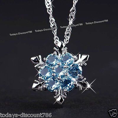 BLACK FRIDAY DEALS - Blue Snowflake Crystal & Silver Necklace Gift For Her Women](black friday gift deals)