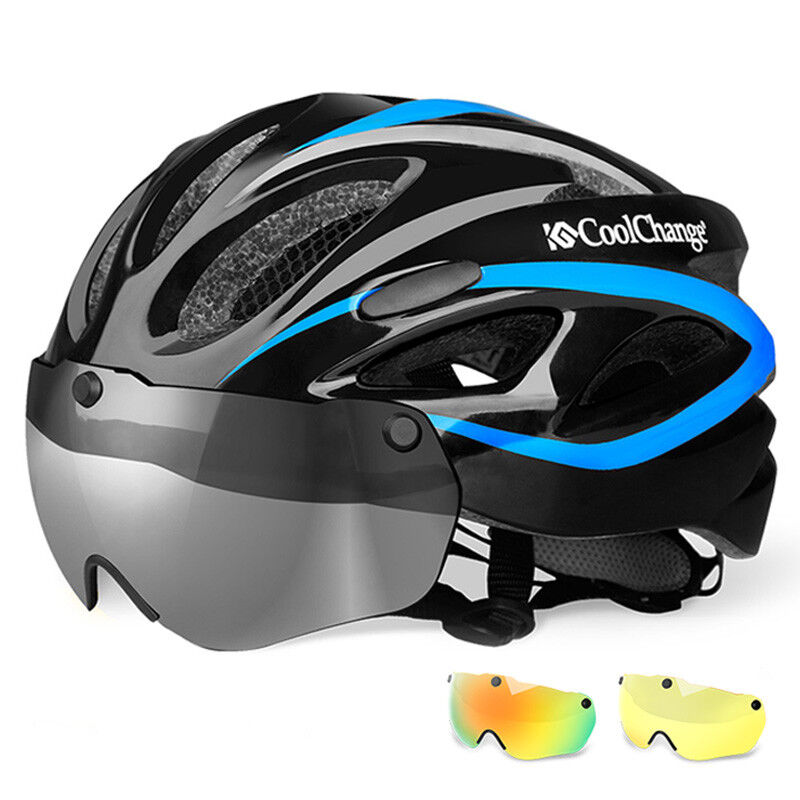 Damen und Herren MTB Rennrad Fahrrad Helm Blau Radfahren Helm Kopfumfang 57-62cm