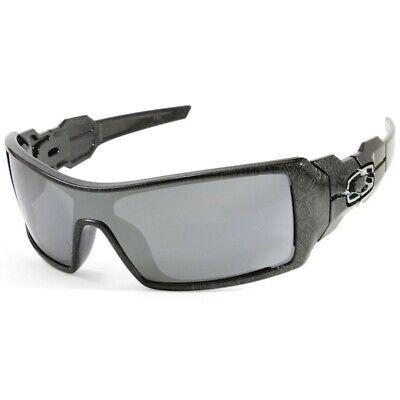 Oakley Oil Rig Sunglasses 24-058 Polished Black Ghost Text Frame W/ Black Lens Oakley Black Lens