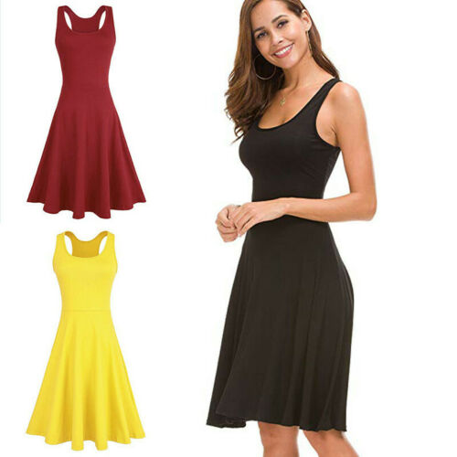 Women Sleeveless Crew Neck Tunic Solid Causal Evening Party Formal Wrap Dress Clothing, Shoes & Accessories
