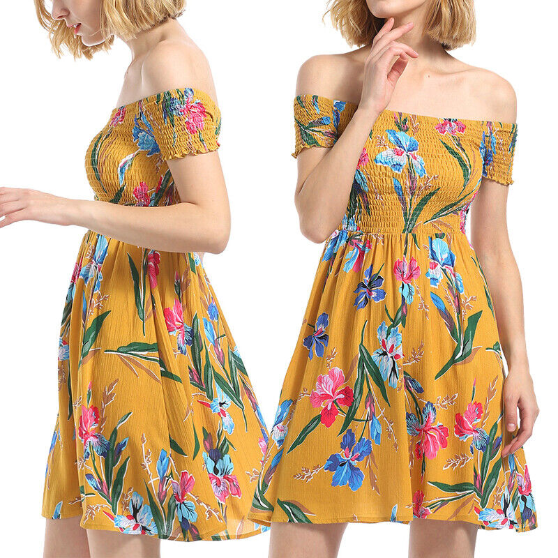 Women's Summer Off Shoulder Floral Short Beach Evening Party Cocktail Mini Dress Clothing, Shoes & Accessories