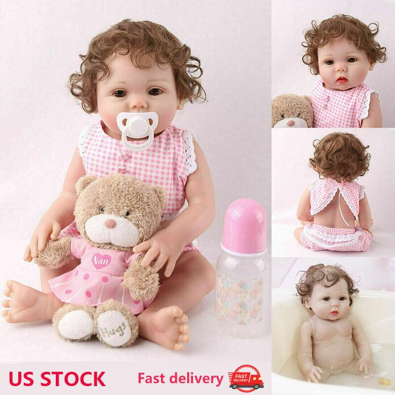 "Reborn Baby Girl Dolls 16"" Full Body Silicone Vinyl Handmade Xmas Gifts Doll Toy"